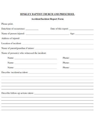 preschool accident incident report