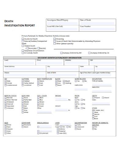 primary death investigation report