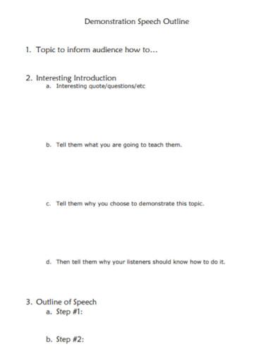 printable demonstrative speech outline