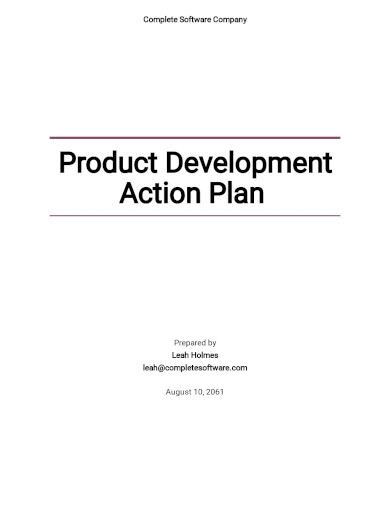 product development action plan template