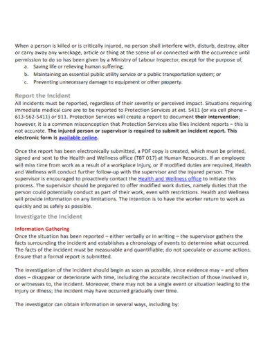 professional incident investigative report