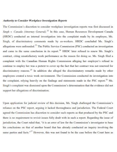 professional work investigation report