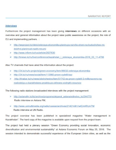 project interview narrative report