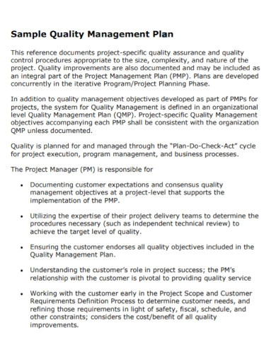 project quality management plan in pdf