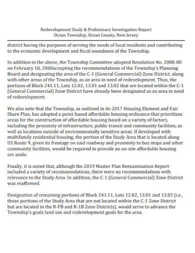 redevelopment preliminary investigation report