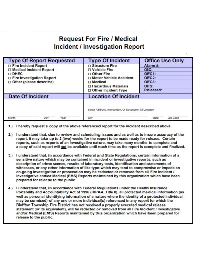 request for fire investigation report
