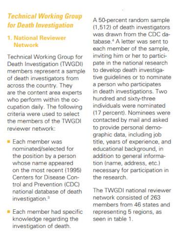 research death investigation report