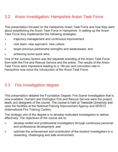 research fire investigation report
