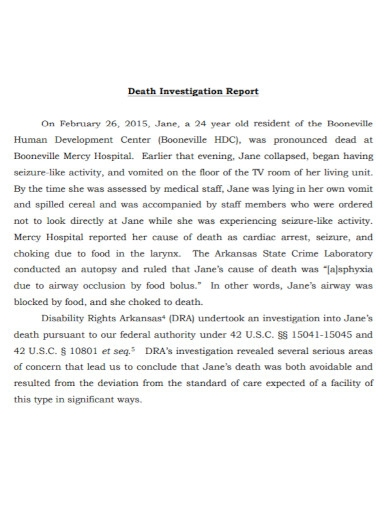 resident death investigation report