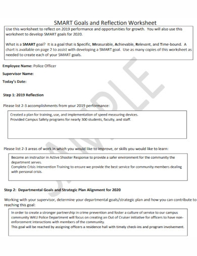 smart goals reflection worksheet