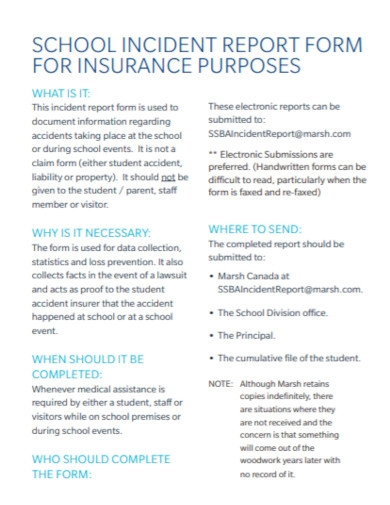 school insurance incident report
