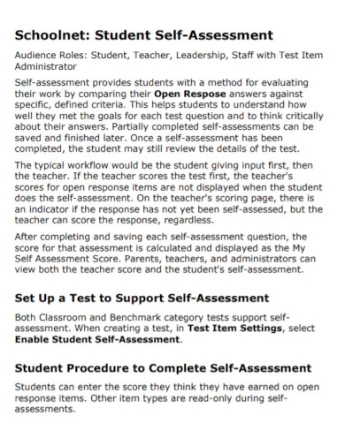 school student self assessment