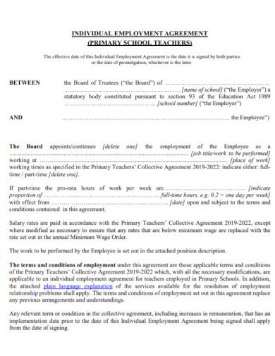 school teacher employment agreement
