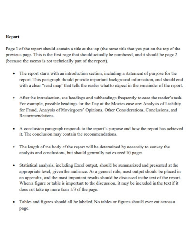 short one page business report