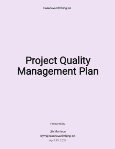 simple project quality management plan templates