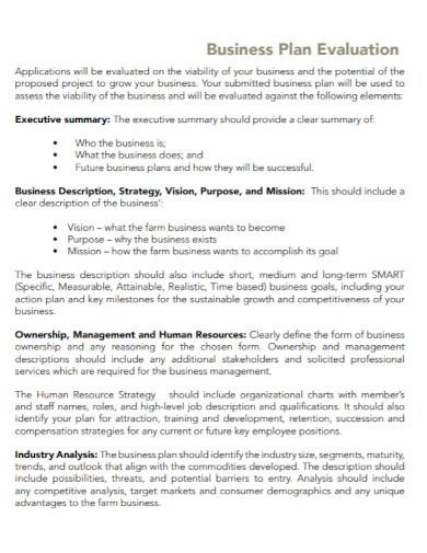 small farm business evaluation plan