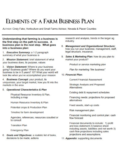 small horticulture farm business plan