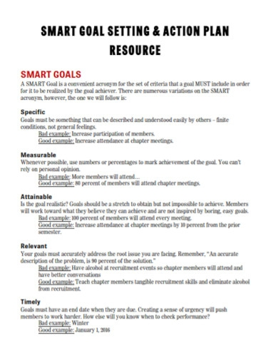 smart goals action plan template
