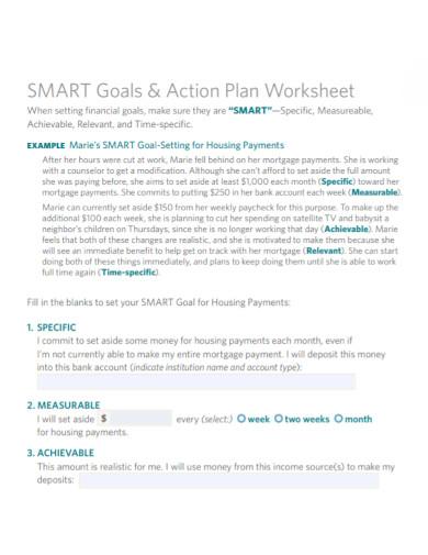 smart goals action plan worksheet