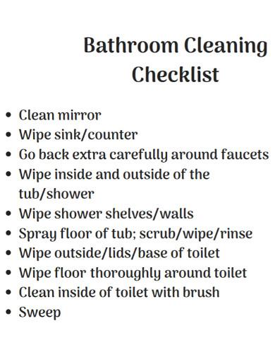 standard bathroom cleaning checklist