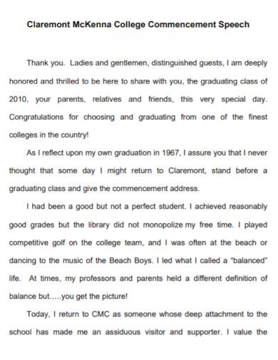 standard college commencement speech