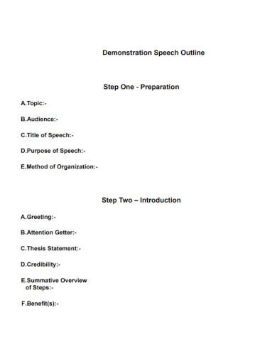 standard demonstrative speech outline