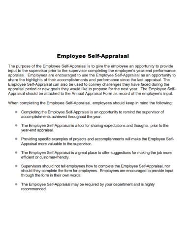 standard employee self appraisal