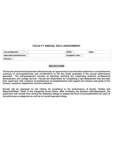 standard faculty self assessment