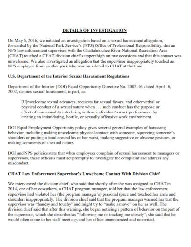 standard harassment investigation report