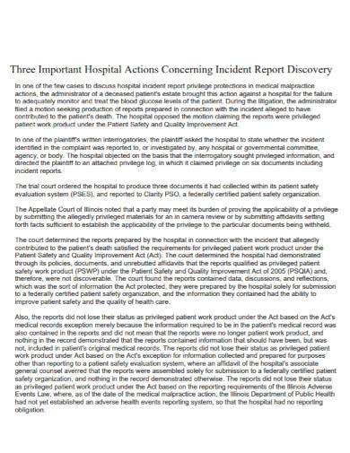 standard hospital incident report