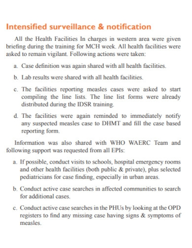 standard outbreak investigation report