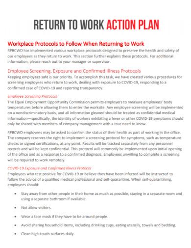 standard return to work action plan