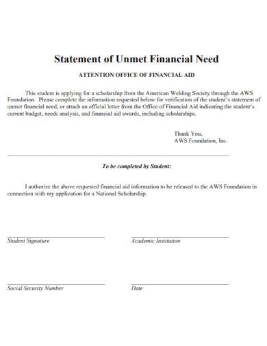 statement of unmet financial need