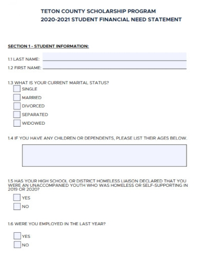 student financial need statement