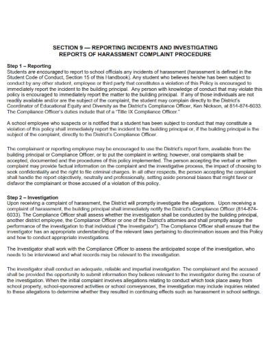 student harassment investigation report