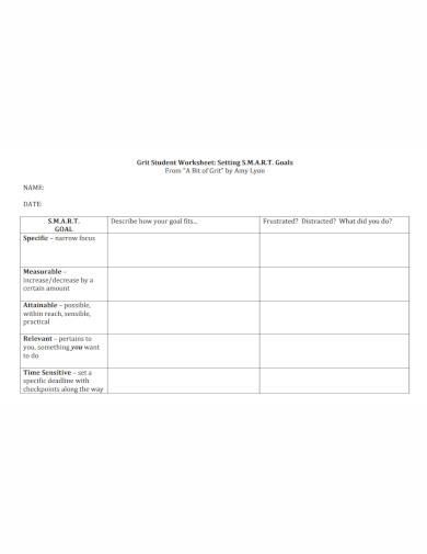 student smart goals worksheet