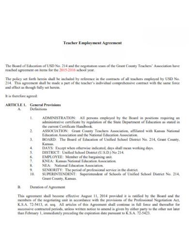 teacher employment agreement template