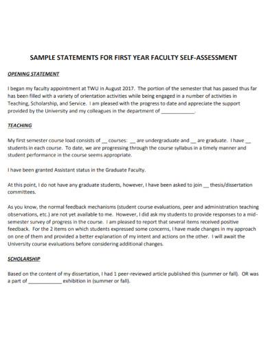 university faculty self assessment