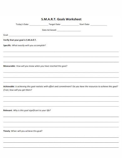 university smart goals worksheet