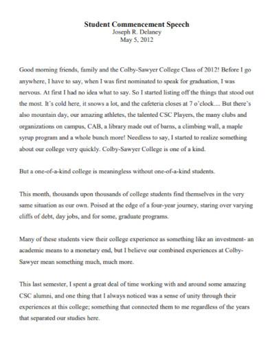 university student commencement speech