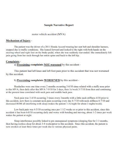 vehicle accident narrative report
