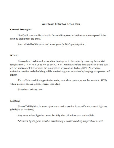 warehouse reduction action plan