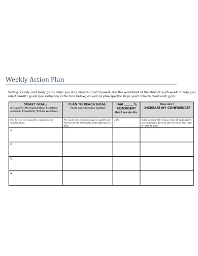 weekly action plan template
