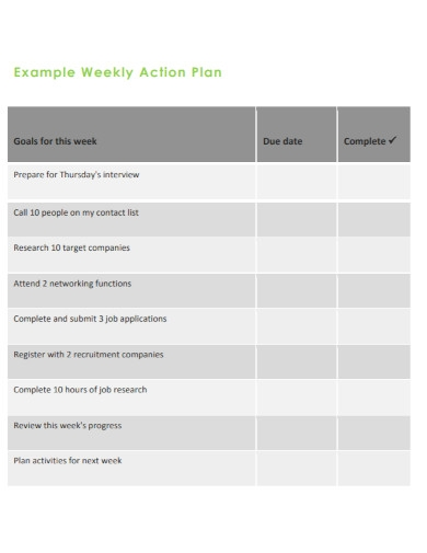 weekly goals action plan