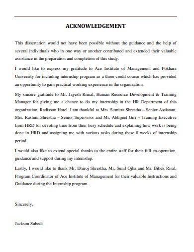 acknowledgement for hr department internship report
