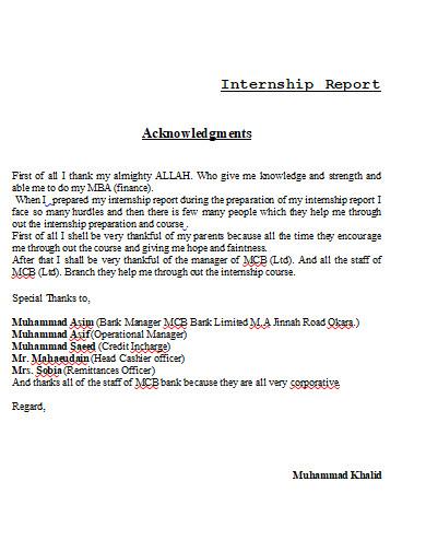 acknowledgement for internship final report