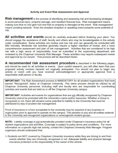 activity and event risk assessment