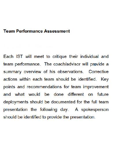 agency team performance assessment