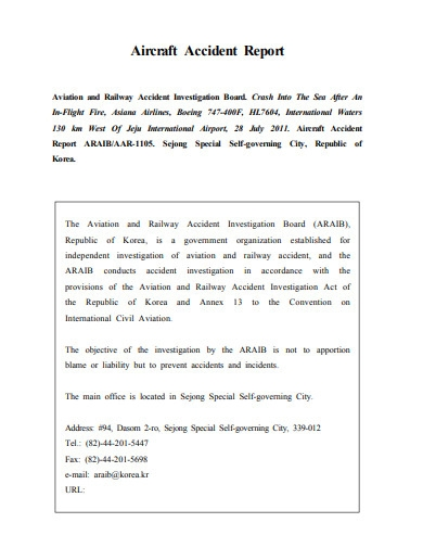 aircraft fire accident report