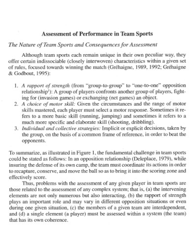 assessment of performance in team sports
